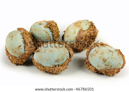 preserved duck eggs on white background