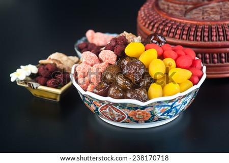 preserved fruits. chinese preserved fruits on background - stock photo