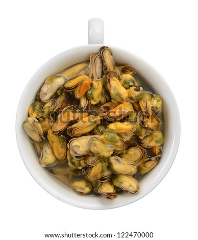 preserved mussels in a cup - stock photo