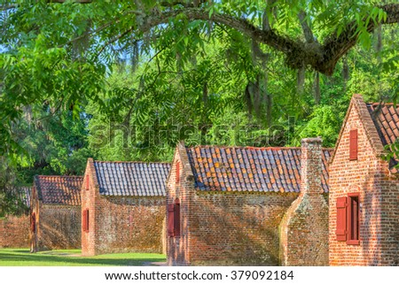 Preserved plantation slave homes in Charleston, South Carolina, USA. - stock photo
