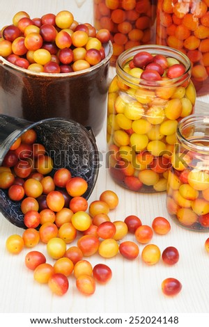 Preserving Mirabelle plums - jars of homemade fruit preserves - Mirabelle prune