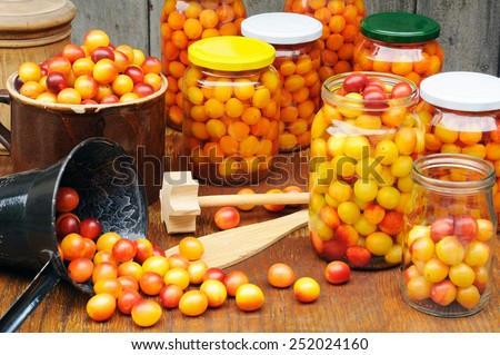 Preserving Mirabelle plums - jars of homemade fruit preserves - Mirabelle prune - stock photo