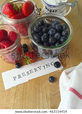 Preserving word with summer berries