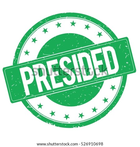 PRESIDED stamp sign text word logo green.