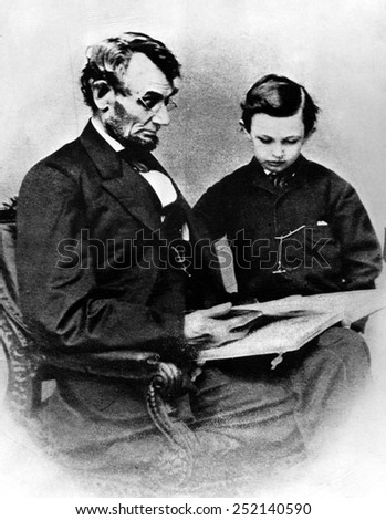President Abraham Lincoln and son William Wallace Lincoln, early 1860s. - stock photo