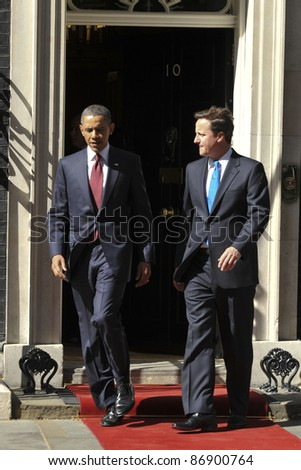 President Barak Obama meets David Cameron at No.10 Downing Street, London. 24/05/2011  Picture by: Steve Vas / Featureflash - stock photo