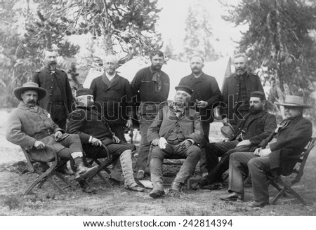President Chester A. Arthur's (front-center) expedition to Yellowstone National Park. Among his companions were Civil War hero General Philip H. Sheridan, and Robert Todd Lincoln. 1883. - stock photo