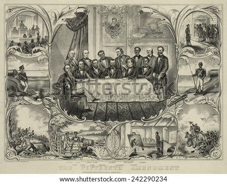 President Grant with group of men signing the 15th amendment banning voting racial discrimination. Vignettes show African Americans in military service, at school, on the farm, and voting. 1871. - stock photo