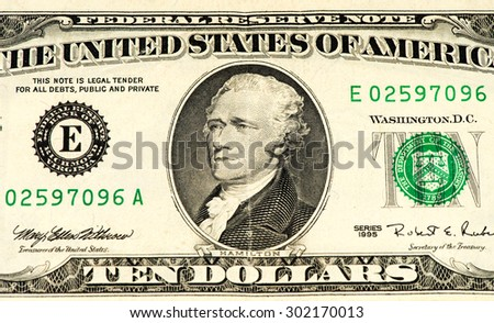 President Hamilton on a 10 US dollars bank note made in 1995