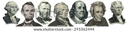 President portraits from money isolated on white. Head turned to the right