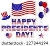 President's Day background with a beautiful text on the banner and stars.  Raster version. - stock vector