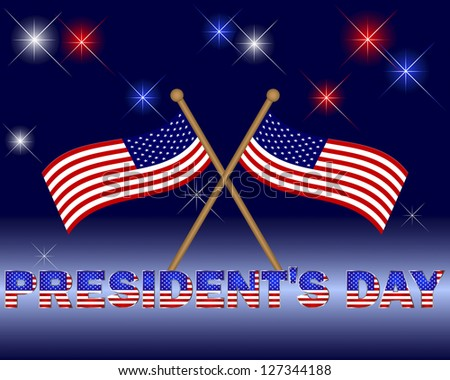 President's Day. Beautiful text with the pattern of the American flag on a festive background with flags.  Raster version. - stock photo