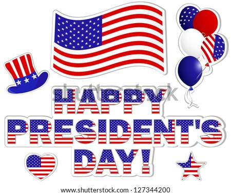 President's Day stickers with a beautiful text, hat, flag and balloons.   Raster version. - stock photo