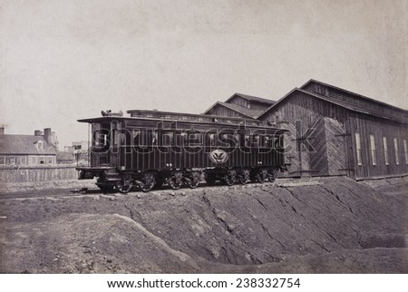 President's rail car at the Alexandria station, the car was later used as Lincoln's funeral car, President's car, Alexandria, Virginia, photograph by Andrew J. Russell, circa January, 1865. - stock photo