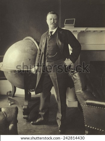 President Theodore Roosevelt (1858-1919), in 1903. The United States emerged as a recognized World Power during his presidency.