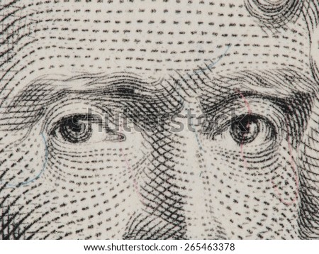 President Thomas Jefferson eyes super macro on us 2 dollar bill, united states money closeup - stock photo