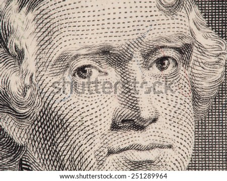 President Thomas Jefferson face on us two dollar bill closeup macro, united states money - stock photo