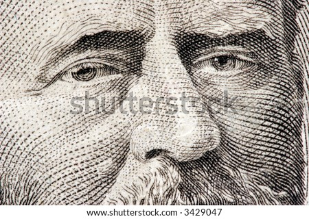President Ulysses S. Grant close up from 50 dollar bill - stock photo
