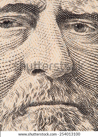 President Ulysses S. Grant face extreme macro on US 50 dollar bill, united states money closeup, 2013 series - stock photo