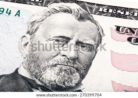 President Ulysses S. Grant from fifty dollar bill. Stacked photo. - stock photo