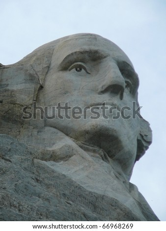 President Washington's Face at Mt. Rushmore - stock photo