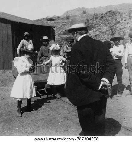 President William McKinley poses for miners daughters photograph in Arizona on June 7, 1901. McKinleys was on an unprecedented cross country tour of the US
