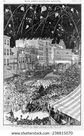 Presidential election of 1884. Grand ovation to Governor Cleveland in the city of Buffalo, NY. Oct 2, 1884.