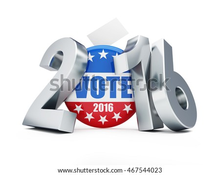 presidential election USA in 2016 white background 3D illustration