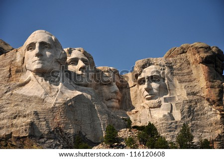 Presidential Faces on Mt Rushmore Seen From Viewing Deck , South Dakota - stock photo