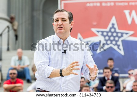 Presidential hopeful Ted Cruz speaks to a crowd of 9000+ at the Pro-Family Rally held on 8/29/15 at the South Carolina Statehouse.