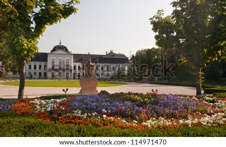 Presidential Palace and garden behind it, photo taken in Bratislava, Slovakia. - stock photo