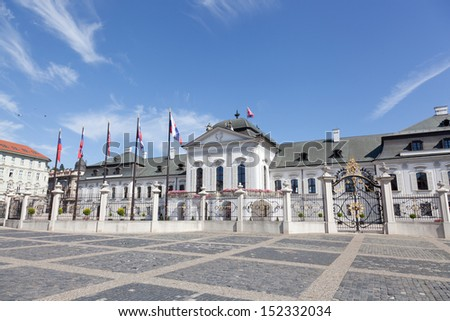 presidential palace in Bratislava, Slovakia in the sunny summer day - stock photo