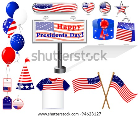 Presidents day. Set of Icons. (button, flag, billboard, t-shirt, balloon, gift). Raster version.