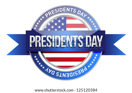 presidents day. us seal and banner illustration design - stock photo