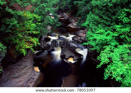 Presque Isle River at Porcupine Mountains State Park in Michigan - stock photo