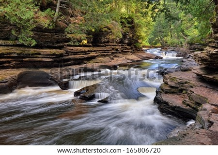 Presque Isle River Porcupine Mountains State park Upper Michigan - stock photo