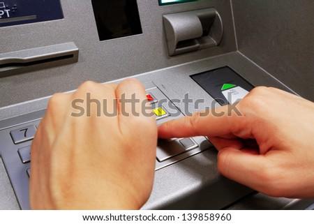 Press ATM EPP keyboard - stock photo
