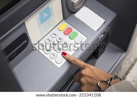 Press ATM keyboard - stock photo