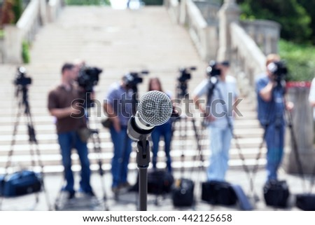 Press conference. Journalism. - stock photo
