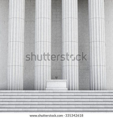 Press conference marble / 3D render of speaker podium with microphones in front of building with grand edifice - stock photo
