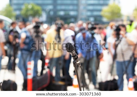 Press conference. Microphone. - stock photo