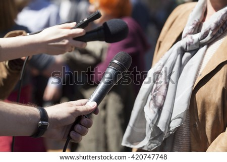 Press interview. Press conference. - stock photo
