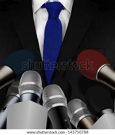 Press interview with microphones - stock photo
