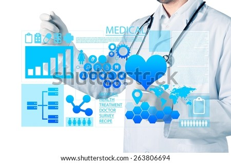 Press. Medicine doctor working with modern computer interface - stock photo