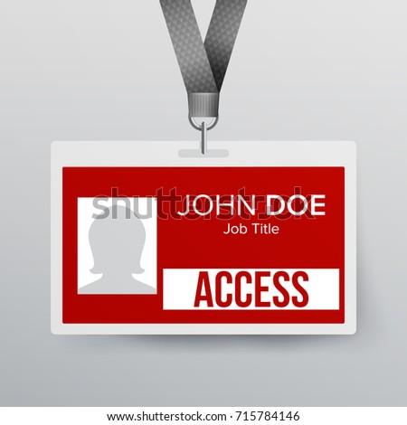 Press Pass Id Card Plastic Badge Stock Illustration - Ring security badge template