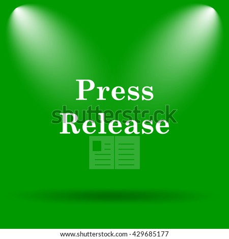 Press release icon. Internet button on green background.