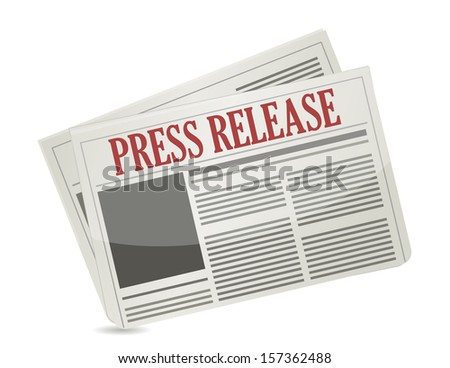 press release newspaper illustration design over white - stock photo