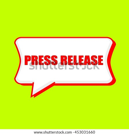 press release red wording on Speech bubbles Background Yellow lemon