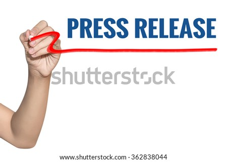 Press Release word write on white background by woman hand holding highlighter pen - stock photo