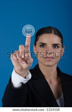 Press the success key - stock photo